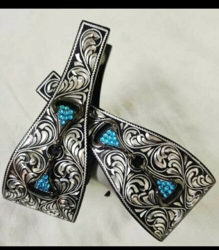 Western stirrups with black Aluminum Silver Engraving with teal stone