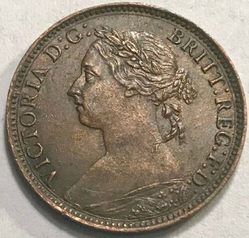 GREAT BRITAIN - Queen Victoria - Farthing - 1890 - KM-753 - AU/UNC Slider!
