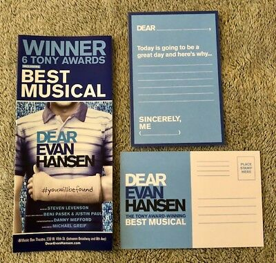 Dear Evan Hansen post card *Brand New* No Longer Available at Shows *Free Flyer*