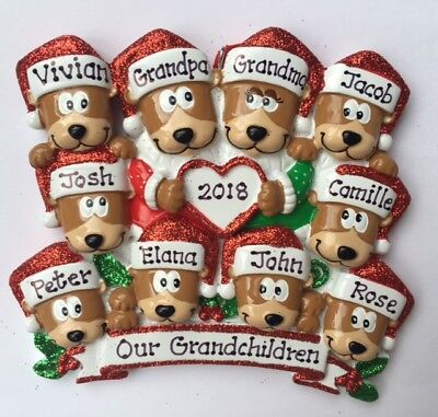 Personalized Brown Bear Family of Ten BFFs Coworkers  Christmas Ornament Gift ()