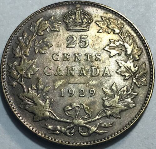 CANADA - George V - 25 Cents - 1929 - KM-24a - Very Fine Silver Coin