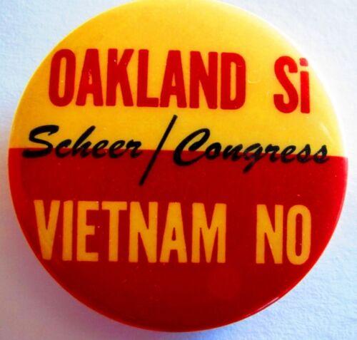 Vintage Anti War Protest Peace Pin Pinback Scheer 4 Congress Vietnam NO 1966