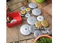 York fitness barbell, dumbbell plate set