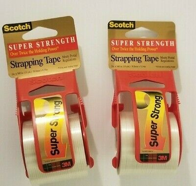 2 Rolls Super Strength Scotch 3m Shipping Strapping Tape Dispenser 2 X 10yds