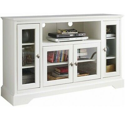 Wood Media Storage TV Stand Console High Boy Style 52 Inch White Cabinet New  ()