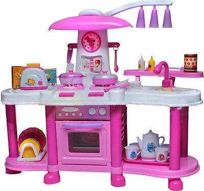 Rosa Groβe Spielküche mit Zubehör Spielzeug Kinder mit Ton Wasserhahn mit Wasser