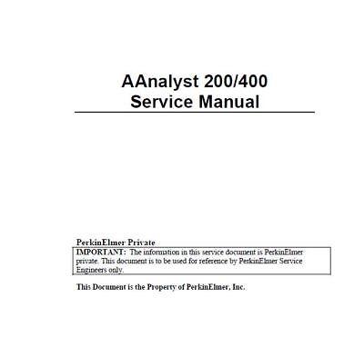 Perkin Elmer Atomic Absorption  Aanalyst 200 400 Service Manual