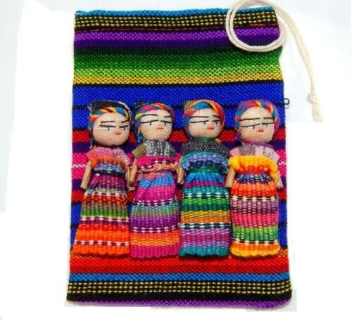 """Worry Dolls Large Pouch Contains 4 2"""" Dolls from Guatemala,Trouble dolls,Mexican"""
