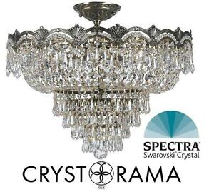"NEW SWAROVSKI CRYSTAL CEILING LIGHT - 115764474 - Crystorama Lighting 5-LIGHT SEMI FLUSH FIXTURE - 21.5"" diameter x 1..."