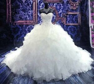 New-white-ivory-Ball-Gown-Wedding-Dress-Custom-Size-2-4-6-8-10-12-14-16-18-20