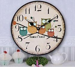 Vintage Wooden Wall Clock Owls Large Shabby Chic Rustic Home Antique Style