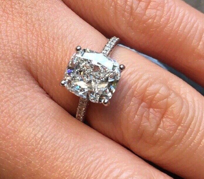 2.00 Ct Cushion Cut Diamond Engagement Ring U-Setting E,VS2 GIA 18K WG Natural 7