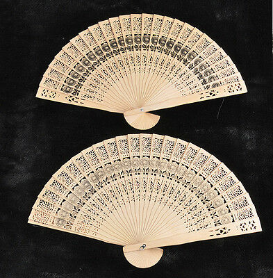 Hand Fans For Wedding (Wooden Carved Hand Fans retro Bamboo Fan Folding for Outdoor Wedding Party)