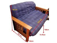 Wood framed fold out futon double sofa bed