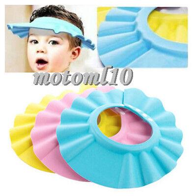 Baby Kids Safe Wash Hair Tool Bath Shower Cap Waterproof Shield Hat Head Cover M