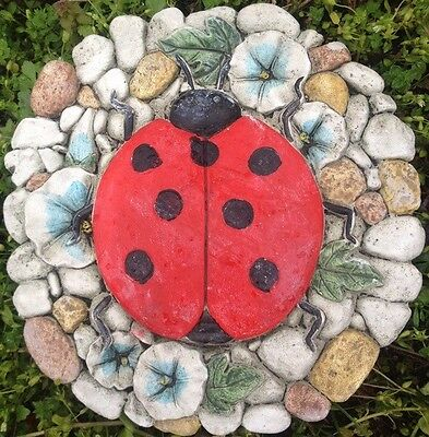 Lady Bug 1, stone or plaque concrete mold, cement, plaster, ceramic, mould