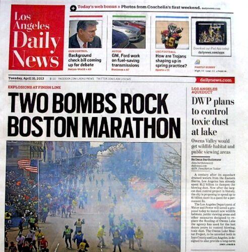 Boston Marathon Bombings Newspaper Los Angeles Daily News 4