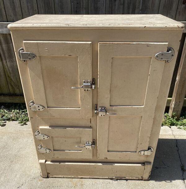 Antique Oak Freezer ICE Box 1890's to early 1900s Vintage