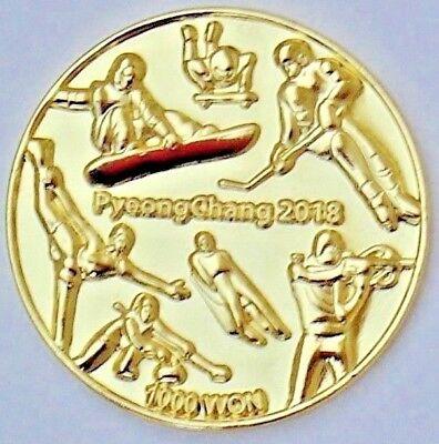 2018 PyeongChang South Korea Olympic 24K Commemorative Coin Proof 1000 Won Medal