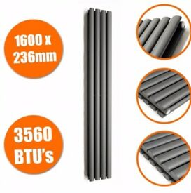 1600 X 236mm Anthracite Double Oval Tube Vertical Radiator - new