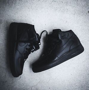 Black on black Nike Air Force 1 shoes size 10.5
