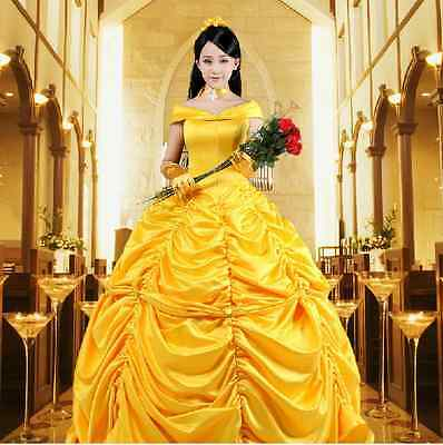 US! Beauty and the Beast Princess Belle Halloween Cosplay Costume Women Dress - Belle And The Beast Halloween Costumes