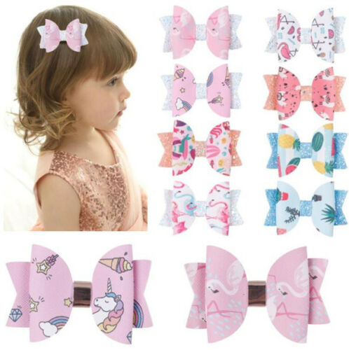 """2pc Unicorn Printed Lovely 3"""" Mini Bows Hairpin Hair Bows Clips Double Layers"""