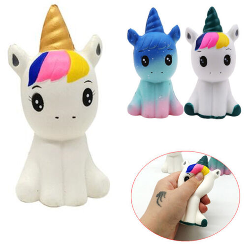 Jumbo Squishy Colorful Unicorn Slow Rising Cute Kids Squeeze Toy Pressure Relief