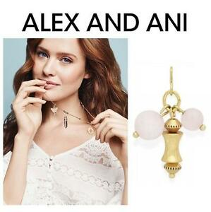 NEW ALEX AND ANI ROSE QUARTZ CHARM - 113482906 - STERLING SILVER GOLD FINISH - CLUSTER CHAIN STATION - LOVE HEALING C...