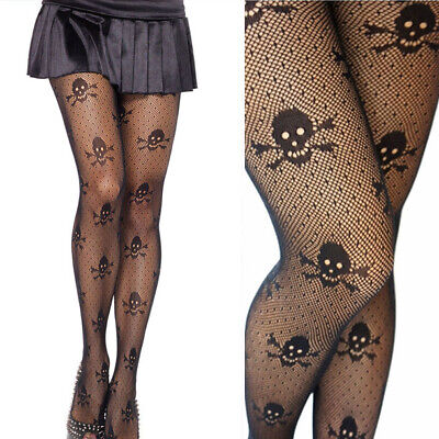 Gothic Skull Crossbone Tights Pantyhose Sheer Polka Dot Net Cosplay Costume OS
