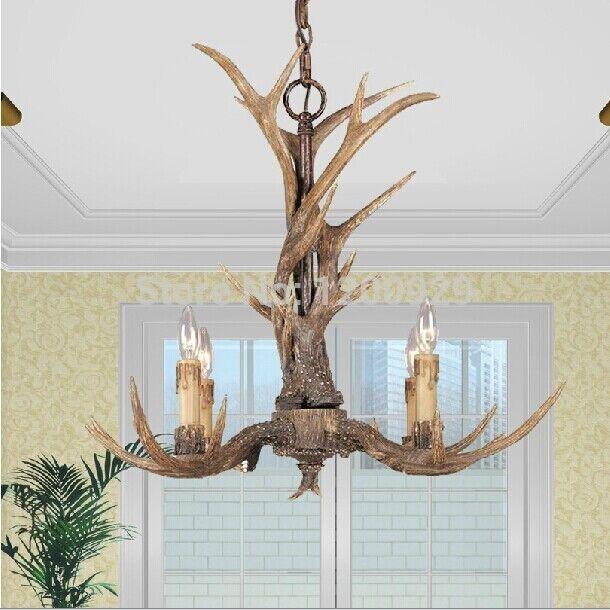 American country vintage resin deer horn antler chandelier light american country vintage resin deer horn antler chandelier light ceiling lamp aloadofball Choice Image