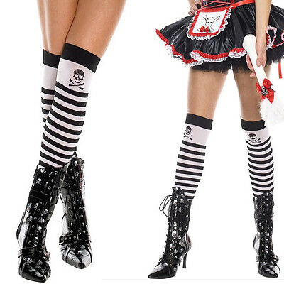 Opaque Black & White Striped Thigh Highs Knee Socks Halloween Pirate Costume OS - Opaque White Thigh Highs