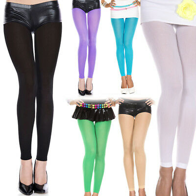 Opaque Solid Bright Color Tights Costume Cosplay Halloween Footless Pantyhose OS - Tights Costume