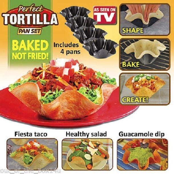 Perfect Tortilla Tortilla Pan Set 4 Pc Non Stick Shell Makers Washable BRAND NEW Bakeware