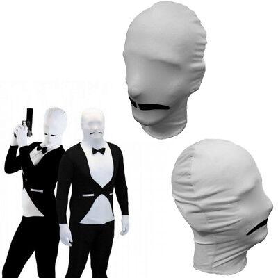 Lycra Spandex Zentai Face White Mask Black Mustache Costume Waiter Spy Party OS ()