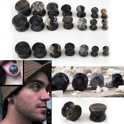 Solid Natural Polished Picasso Jasper Stone Flared Saddle Ear Plugs Pair 4G-5/8  4g Solid Ear Plugs