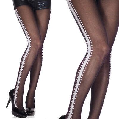 Opaque Black Tuxedo Striped Pattern White Side Seam Tights Glittering Pantyhose