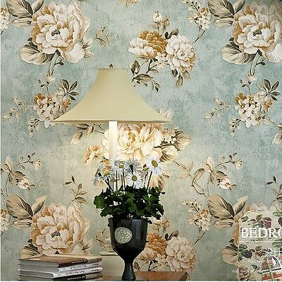 Vintage bluecream roses flower gold wallpaper roll home wall vintage bluecream roses flower gold wallpaper roll home wall decor 208x3937 voltagebd Image collections