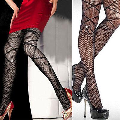 Women Black Net Pantyhose Polka Dot Criss Cross Faux Knee Tights Lolita Costume (Criss Cross Halloween Costume)