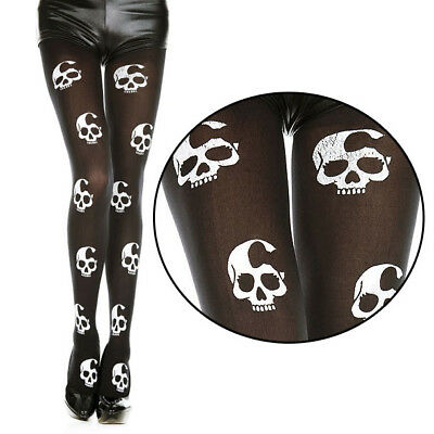 Bow Girly Skull White/Black Spooky Sheer Halloween Costume Pantyhose Stockings](Girly Halloween Costume)