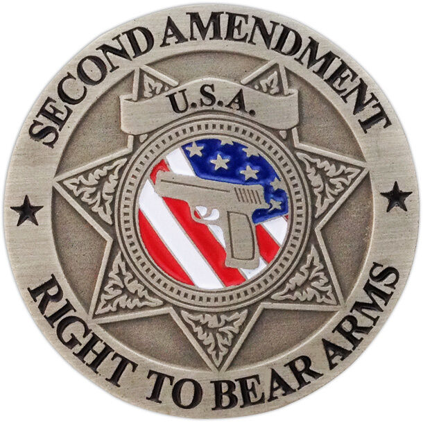 Second Amendment - Right To Bear Arms Pin - Antique Silver - USA Flag & Gun