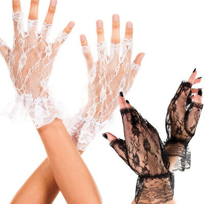 Gothic Gloves (Sexy Fishnet Floral Rose Lace Wrist Gloves Fingerless Gothic Punk Costume)
