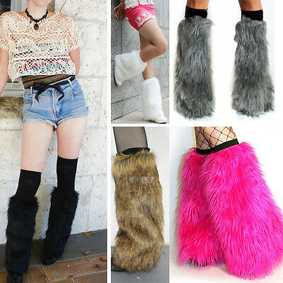 Soft Faux Fur Boot Topper Leg Warmers Long and Short Black White Brown Grey - White Leg Warmers