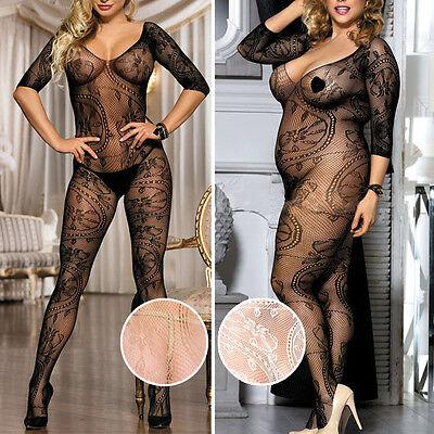 Geometric Lace Sleeved Fishnet Bodystocking Bodysuit Pantyhose Medium/Plus Size - Bodystocking Lace