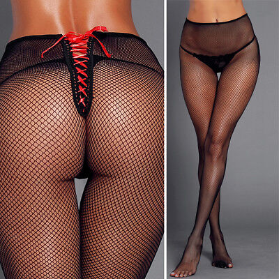 Sheer Tights Costume Harajuku Pantyhose Open Back Red Bow Top Lace Up Fishnet OS