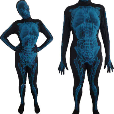 Lycra Spandex Zentai Full Body Hood Suit Costume Party X Ray Skin Tight XS-XL US