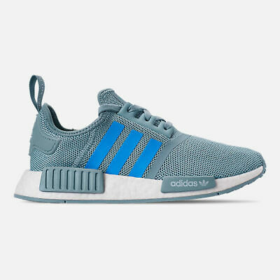Youth Adidas NMD R1 Ash Grey Shock Cyan Footwear White G27688-BLW ()