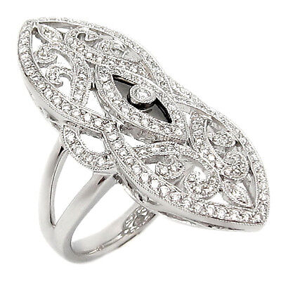 ANTIQUE STYLE 14KW Solid GOLD DIAMOND RING 0.74TCW PAVE Setting H/SI Round - Antique Pave Diamond Ring Setting