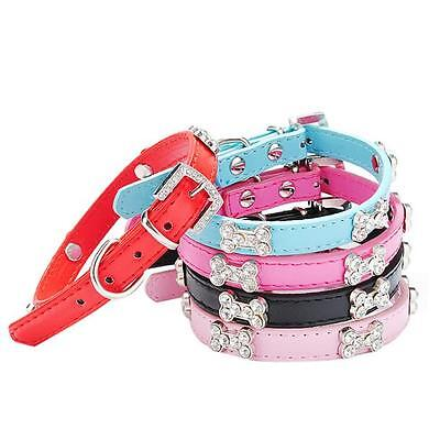 New Dog Collar Bling Crystal With Bone Necklace Pet Puppy Cat Leather Necklace