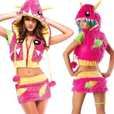 Monster Hood Costume (Hot Pink Monster Retro Furry Costume Halloween Set Hood, Mini Skirt, & Crop)